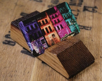 Reclaimed Bourbon Business Card Holder / Upcycled Bourbon Barrel Desk Top Business Card Display / Recycled Wood Card Stand / Bourbon Barrel