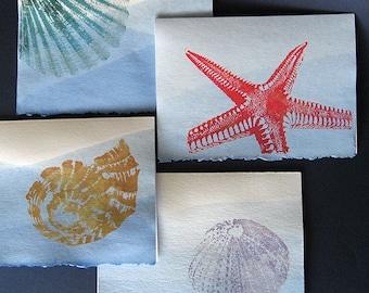 Teints à la main Seashore Gocco Notecards, ensemble de 8