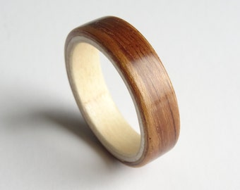 Wood Ring - Tropical Olive and Sycamore, Two Tone Bent Wood Ring Hand Made In Any UK or US Size