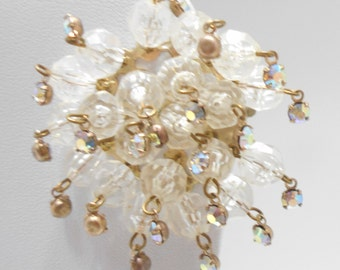One Large Vintage Crystal Clip Earring (2576) Crystals & Aurora Borealis Rhinestones---JUST ONE EARRING!!