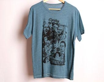 Bleu de TWIN PEAKS court manche david LYNCH t-shirt taille large