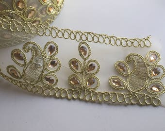 Embellished Lace Trim, lace by the yard, 2 inch lace trim, 5 cm lace trim, translucent golden lace, Stone embedded lace,  lace, Indian la