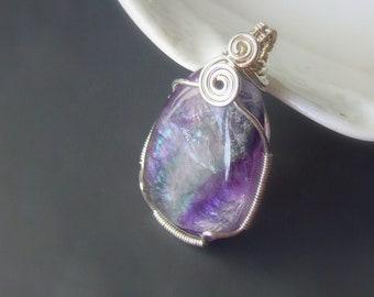 Rainbow fluorite silver necklace, OOAK crystal jewelry, sterling silver chakra jewelry, handmade gift for women