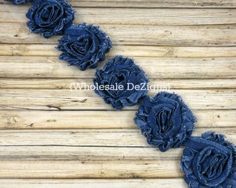 Denim Shabby Chic Chiffon Flowers - One or Half Yard Wholesale Lot Frayed Vintage DIY Headband Rosettes 2.5""