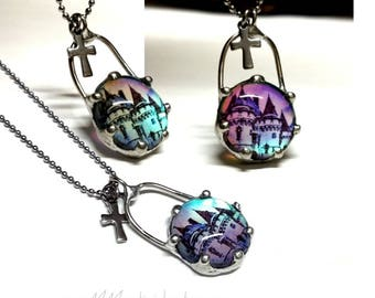 Castle Fantasy Necklace, Glass Pendant Necklace Crown Bezel Cross Dangle Color Shift Pink to Blue Glow, Medieval Dichroic Glass Jewelry