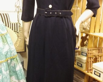 navy blue wiggle dress small