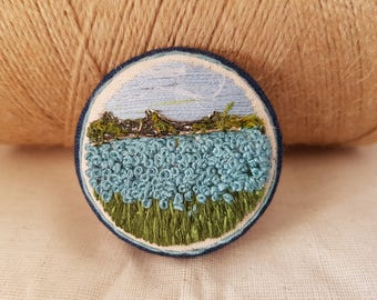 Blue sky embroidered brooch, handmade jewelry, floral brooch, blue jewelry, gift for her, embroidered landscape