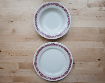 1950s McNicol Red Transferware Dinner Plate and Bowl