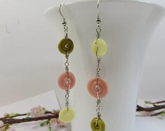 Handmade Lampwork Disc Earrings, Peach Soda Earrings, Artist Made Lampwork Glass Earrings Peach Chartreuse & Lemon, Long Sterling Earrings