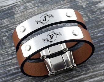 Couple Personalized Bracelet, Monogram Bracelet, Matching Bracelet, Monogram Jewelry, Monogrammed Bracelet, Initial Bracelet, Matching Gift
