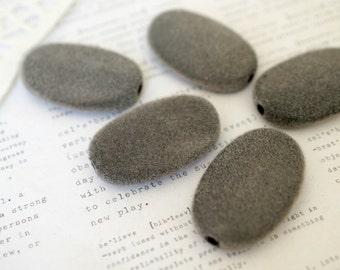 9 x Grey Felt Acrylic Oval Beads 23mm x 35mm