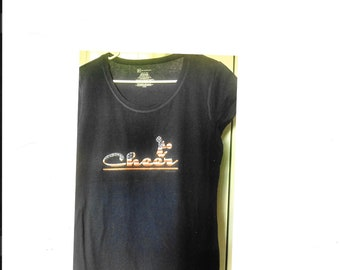 L/G Ladies,T-shirt,Tee-shirt,Cheer,Apparel,Active-wear,Teens shirt,Clothing,Clothes,Closet,Fashion,Dark blue shirt
