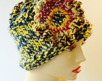 Chunky Tweedy Blue and Yellow Hat