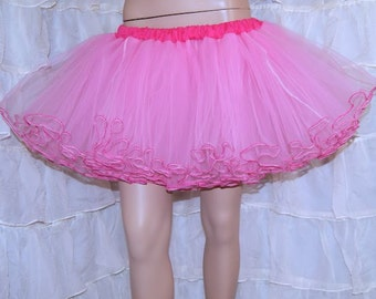 Sewn Tutu Pastel Pink and Fuchsia Piped Costume tulle cosplay costume Crinoline Skirt MTCoffinz --- Adult All Sizes