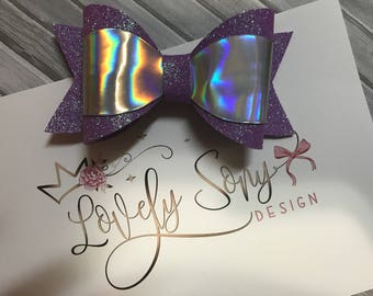 iridescent purple bow