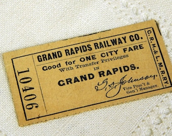 Grand Rapids Railway Co - Ticket 10406 - Good for One City Fare - GRH & LMRRY