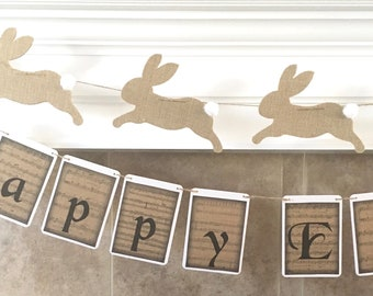 Bunny  Garland - limited stock - choose burlap or off white wool felt bunnies - easter banner, easter decor, baby shower, spring decor