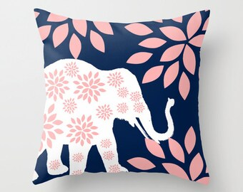 Nursery Pillow Cover Navy Pillow Cover Blush Pillow Cover Nursery Decor Elephant Pillow Cover Accent Pillow Cover Decorative Pillow Cover