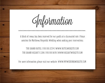 Printable Info Card - Info Card Template - DIY Wedding Template - Rustic Info Card - Instant Download - Pink Lavender Collection
