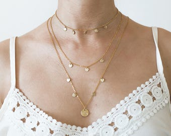 Layering necklace gold