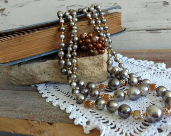 Retro Gray + Brown Beaded Necklace + Earring Set -  Costume Jewelry, Vintage Triple Strand Necklace, Mid Century, Brown Autumnal Jewelry