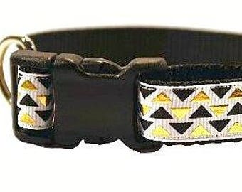 "Black and Gold Dog Collar, Triangle Dog Collar, Geometric Dog Collar, Gold Dog Collar, Black Dog Collar, 3/4"" thick collar, breakaway collar"