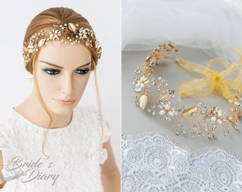 Bridal hair accessories, wedding gold hair vine with golden leaves, bridal hairpiece