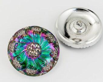 27mm Iridescent Electra Flower Button #BUT023