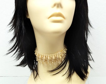 12 inch Black Shag Style Wig. Straight and Layered w/ Bangs. Anime Cosplay Wig. [12-74-Cosmic-1]