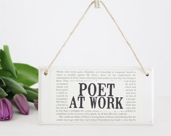 Gifts for Poets ~ Poet At Work ~ Original Wooden Door Sign ~ Gifts for Writers ~ Writer Gift ~ Literary Gift ~ Literary Decor ~ Poet Gift