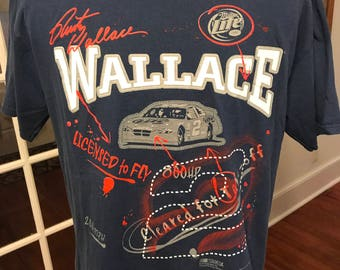 Vintage NASCAR Rusty Wallace Licensed to Fly Miller Lite T Shirt