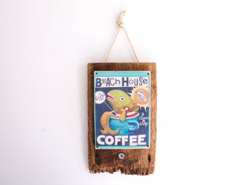 Beach House Coffee Beach Decor on Lightly Distressed Wood Shabby Chic Surf Shop Coastal Ocean Beach Surf Baby Nursery Beach Themed Kids Room