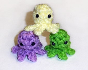 Three Mini Baby Squidlets - Set of 3 Cute Crochet Squid Micro Plushies - Made to Order, Choose your colors