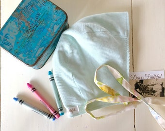 SALE|Winter bonnet| Mint corduroy| Pastel rose print| Reclaimed fabric| Baby bonnet| Baby girl bonnet| Modern bonnet| Handmade