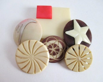 6 Fancy Celluloid Buttons Pierced Carved Variety