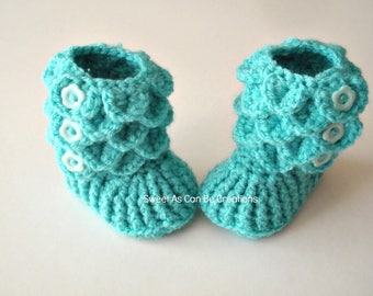 Hand Crochet Crocodile Stitch Baby Girl booties in Turquoise for size 0-6months