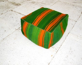 Moroccan Pouf, Floor Pillow Green Orange- Anass