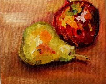 Apple and Pear Original Oil Painting, Still-life painting of fruit, Kitchen Art, 6x6in box canvas. Impressionist Art