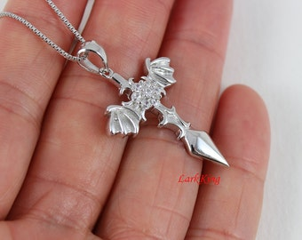 Sterling silver cross necklace, cross sword necklace, cross wings necklace, wings necklace, christian necklace, christian cross, NE8278