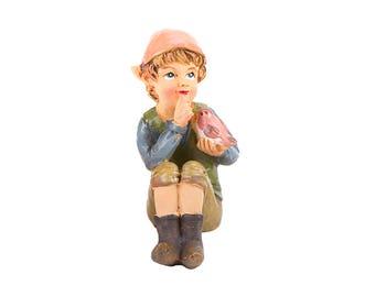 "Pixie Boy with Bird, 2.5"" x 1.75"" - Resin - Garden Dollhouse Miniature"