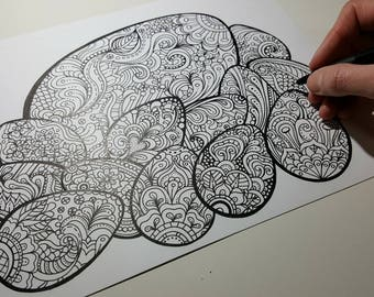 DOWNLOAD - Easter Coloring Page! Easter Eggs! Hand drawn Easter fun.