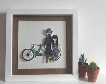 FRAMED Paper Doll Portrait(s) Bespoke Custom Hand Drawn Illustration Artwork