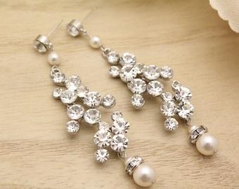 Wedding earrings chandelier earrings Bridal Earrings Crystal Earrings Rhinestone Earrings Bridal Jewelry Earrings Pearl and Crystal Earrings