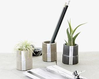 Concrete Silver Cylinder Cup Set, monochrome Air Plant holder gift set, modern cement decor, desk organizer, candle or insence stick holder