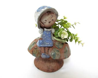 Vintage Pottery Mushroom Figural Planter,  Big Hat Girl's Nature Chair