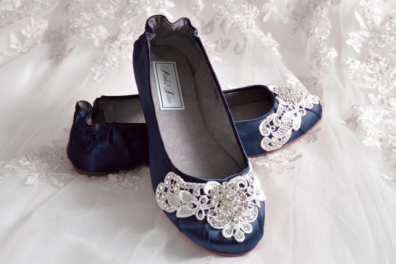 Navy Blue Wedding Shoes Ballet Flats 250 Colors Vintage