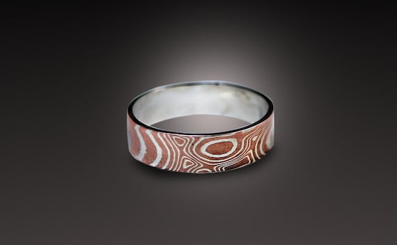 rings white mokume band copper rw gane rs size silver wedding gold products ring
