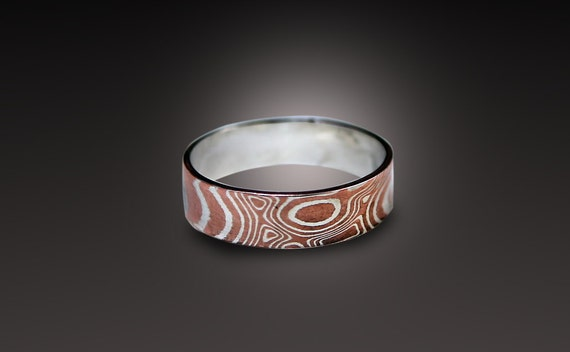 gold ring sterling silver mokume shop rings gane copper and shakudo