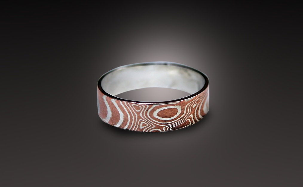 woodgrain gane rings band mokume wedding unique ring white and narrow silver gold palladium sterling products mokusspalsetsidebysidegood metal
