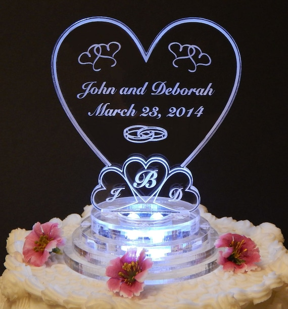 light up wedding cake toppers lit personalized monogram wedding cake topper top 16877